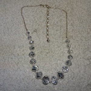 Faceted Glass Crystal Silver Tone Necklace